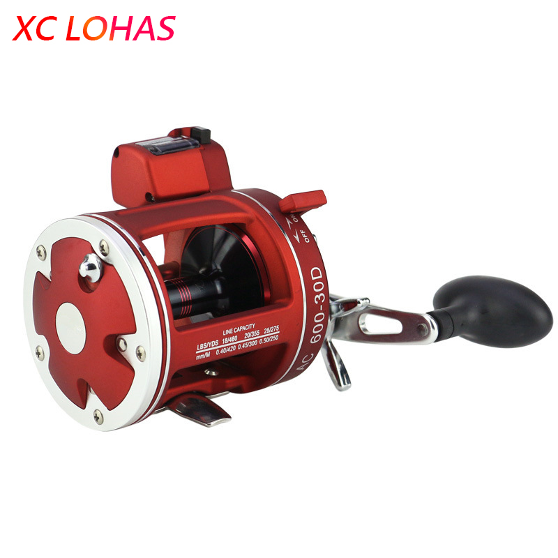 цены High Strength Baitcasting Drum Fishing Reel with Line Counter Meter & Gauge Bait Casting Drum Fishing Wheel for Sea Boat Fishing