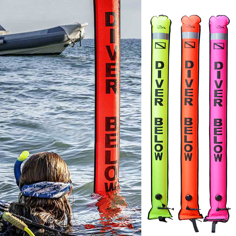 1.2/1.5/1.8 M plongée SMB coloré visibilité sécurité gonflable plongée sous-marine SMB Surface Signal marqueur xr-hot