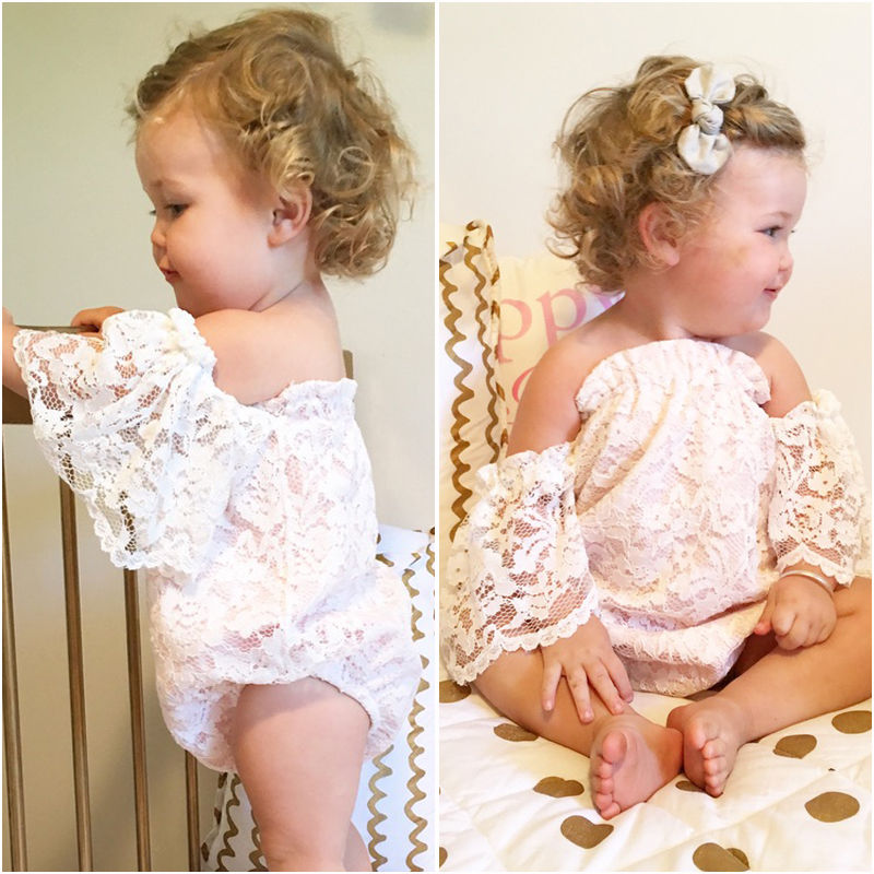e9b7c5c27fbd 2018 Summer Baby Girl Cute Romper White Flower Lace Romper Jumpsuit One  Piece Off Shoulder Sunsuit Outfit Set Clothes 0 24M-in Rompers from Mother    Kids on ...