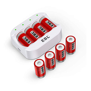 EBL Rechargeable Battery Charger for Arlo VMC3030 Wireless Security Camera with 750mAh 8 PCS RCR123A Battery Charger sets Rechargeable Batteries
