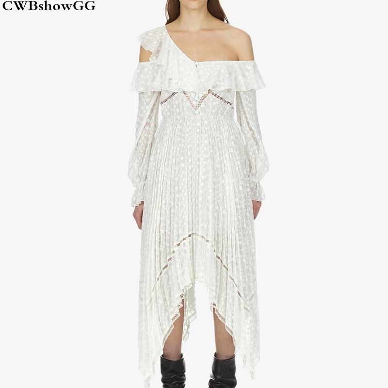 CWBshowGG Self Portrait Designer Runway Spring And Summer Asymmetrical Loose Long Sleeved Hollow Out Ruffles Bohemian