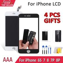 AAA จอแสดงผล LCD สำหรับ iPhone 7 8 Plus 7P 8P 6S LCD Touch Screen Digitizer เปลี่ยนสีดำสีขาวโมดูล Assembly No Dead Pixel