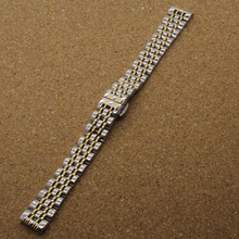 Silver With Gold 14mm 16mm 18mm 20mm 22 mm Stainless Steel Bracelet Metal Flat End Watch