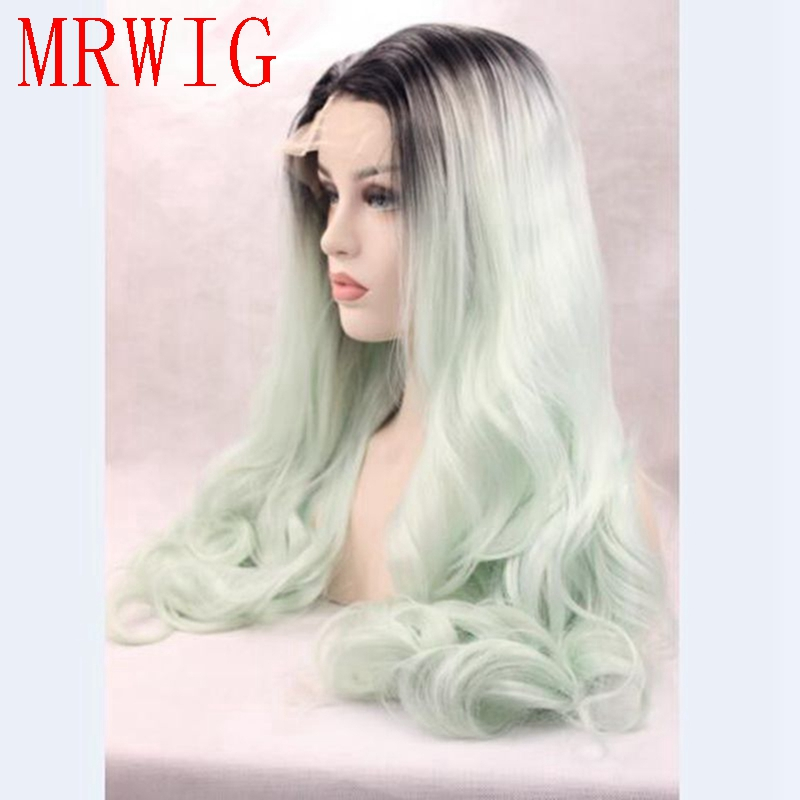 MRWIG ombre mint green free part long wavy synthetic glueless front lace wig 26in real hair short dark roots