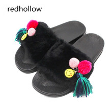 Slippers Womens Fluffy Faux Fur Flat New Fashion Female Casual Slipper Fringe Winter with Zapatos Mujer Slip on Sliders