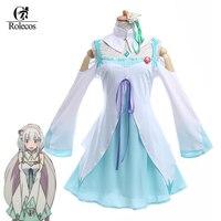 Rolecos Re: Życie w innym świecie od zera Emilia Japoński Anime Cosplay Kostiumy Sukienka Plus Size