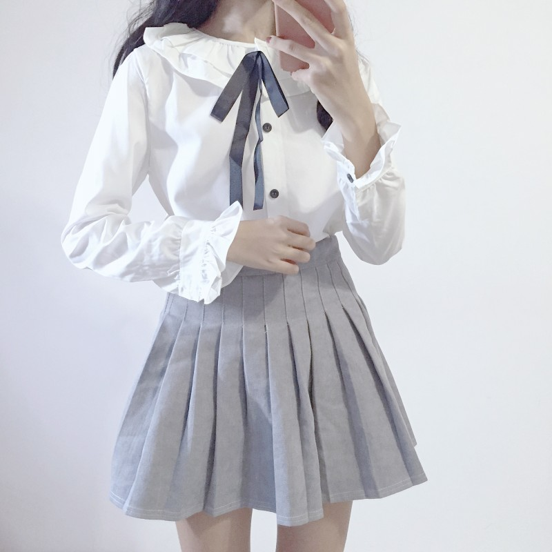 Para Chemise Mujer Bebé Volantes Blanca Top Muñeca Chemisier Vintage Kawaii Camisa Lazo Lolita Blusa Capas Con De qYZRS