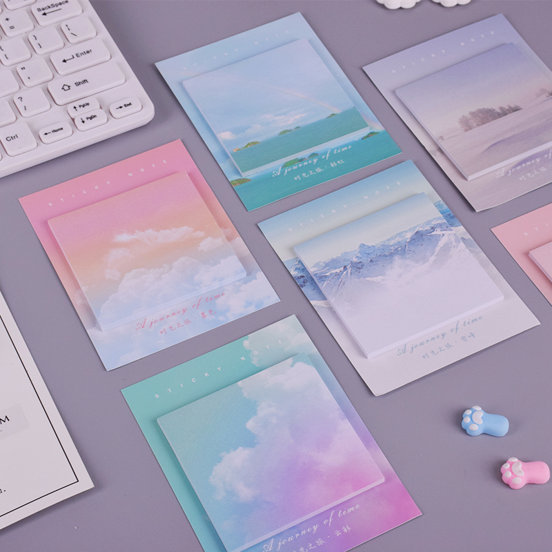 Colored Clouds Student Memo Pad Planner Sticky Note Paper Sticker Kawaii Stationery Pepalaria Office School Supplies 30 Pages