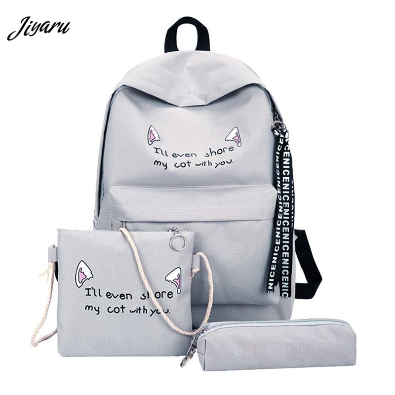 2019 Fashion Women Schoolbag High Quality Backpack Female School Shoulder Bag Canvas Backpack for Teenage Girls Mochila 3PCS Рюкзак