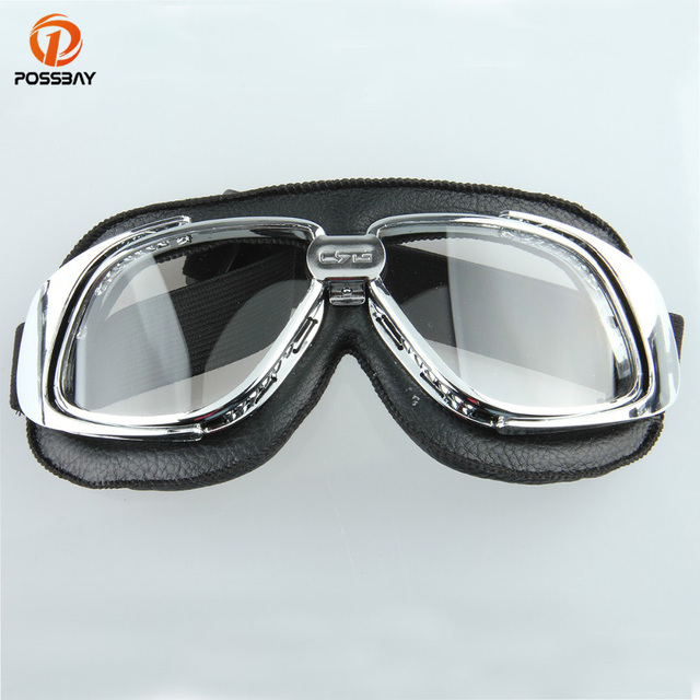 67f1d21160 POSSBAY Motorcycle Goggles Glasses Vintage Motocross Classic Goggles Retro  Aviator Pilot Cruiser Steampunk ATV Bike Eyewear