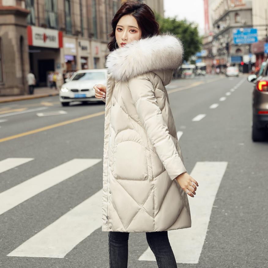 winter big real fur collar hooded 90% duck   down     coats   female Fluffy real fur thicker warm longer   down     coats   wq2226 wholesale