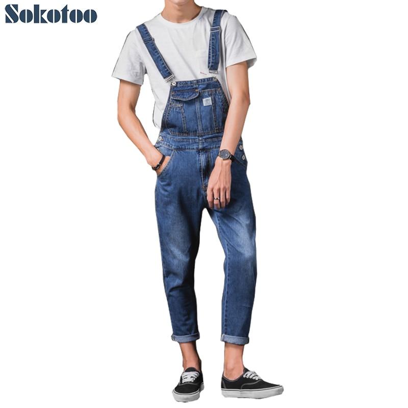 Sokotoo Men's ankle length pocket casual denim bib overalls Slim suspenders jumpsuits Ninth jeans sokotoo men s slim patch pocket denim bib overalls casual suspenders jumpsuits jeans