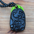 Hot Style Natural Black Obsidian Jade Pendant Carved Chinese Dragon Horse Zodiac Dragon Horse Necklace Pendant Men Jade Jewelry