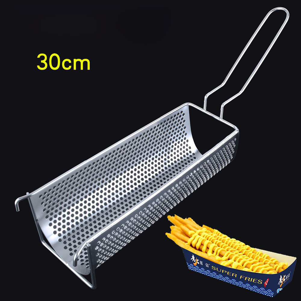 Commercial 304 Stainless Steel Fried Basket 30cm Long Potato Chip Squeezer Long Fried Potato Chip Container Cook ToolCommercial 304 Stainless Steel Fried Basket 30cm Long Potato Chip Squeezer Long Fried Potato Chip Container Cook Tool