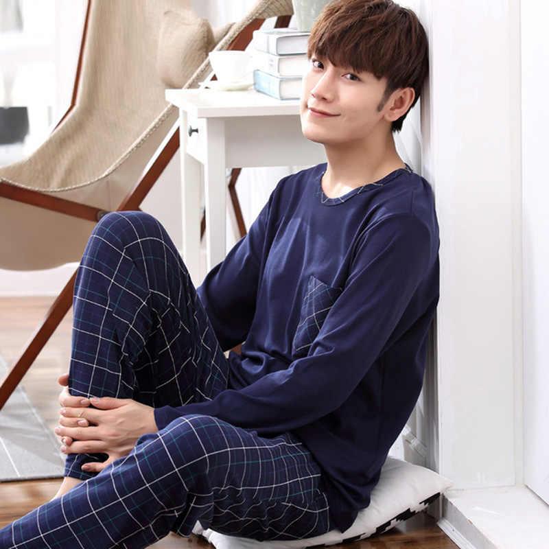 05be986236845 Yidanna Длинные рукава Пижама хлопковые пижамы наборы для мужчин большой  размер одежда для сна Повседневная Ночная