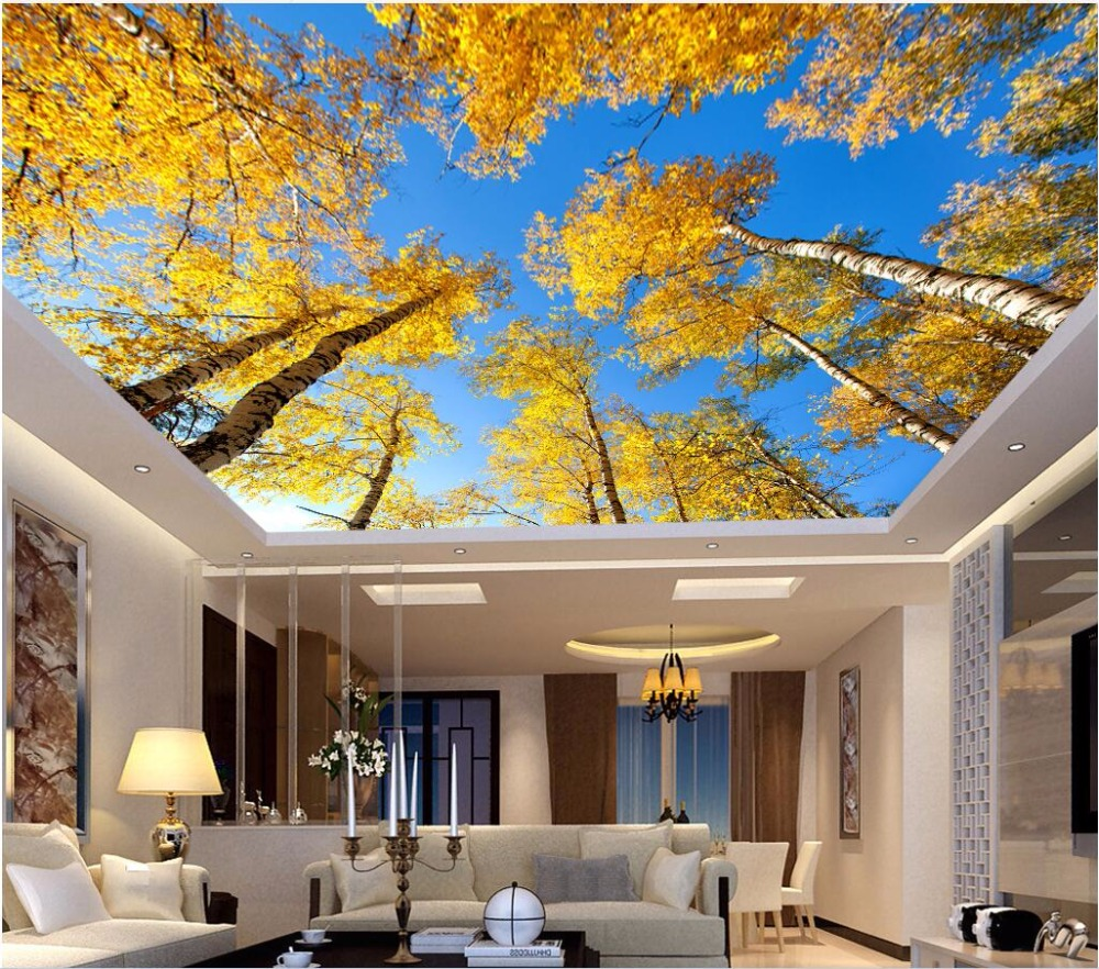 online buy wholesale birch tree wallpaper from china birch tree 3d ceiling murals wall paper yellow leaves the sky white birch trees decor painting 3d wall