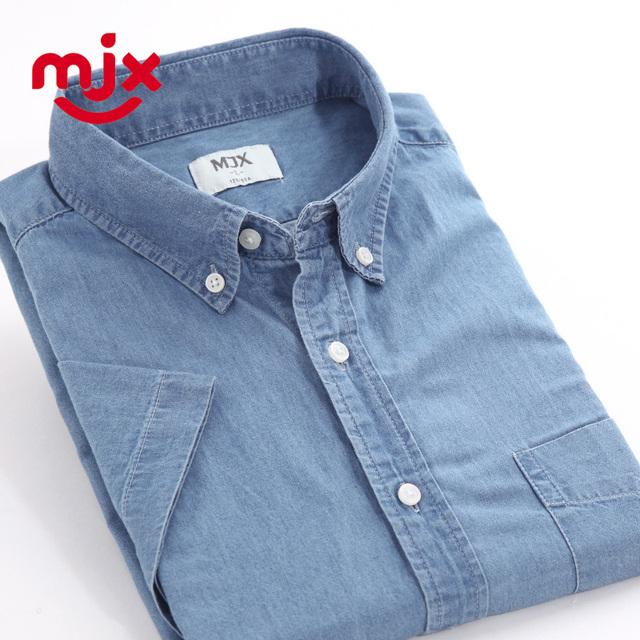MJX euro 2016 del algodón del verano de manga corta para hombre camisas casuales lava camisa vaquera camisa masculina del todo-fósforo