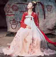 Camisa de manga larga Zhaoyun para chica roja Hanfu elegante antigua nieve