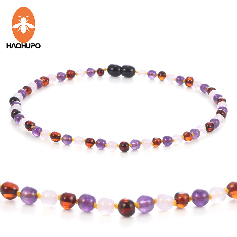 HAOHUPO Natural Amber Necklace for Baby Kids Rose Quartz Amethyst Jewelry Cherry Baltic Amber Gemstone Child Sized Baby Necklace