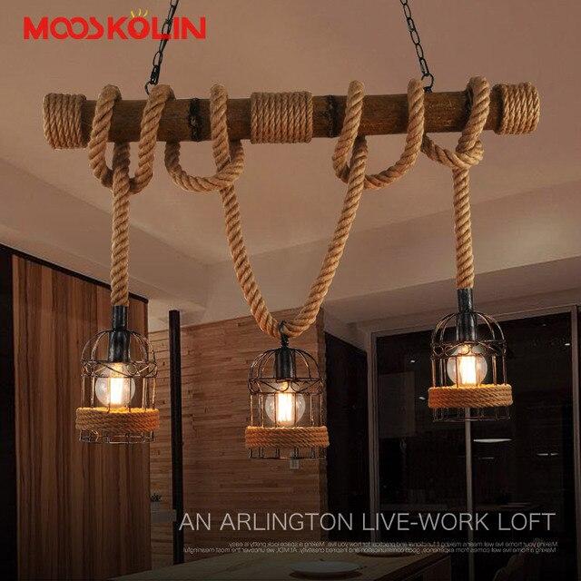 Loft Vintage Landelijk Hanglampen Henneptouw Bamboe