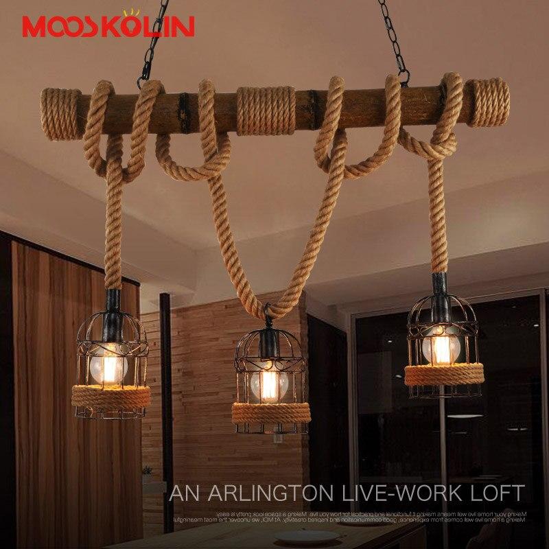 Loft Vintage Rural Pendentif Lumières Chanvre Corde Bambou Fer Cage Pendentif Lampes Main Tricoté Luminaires Restaurant À Manger