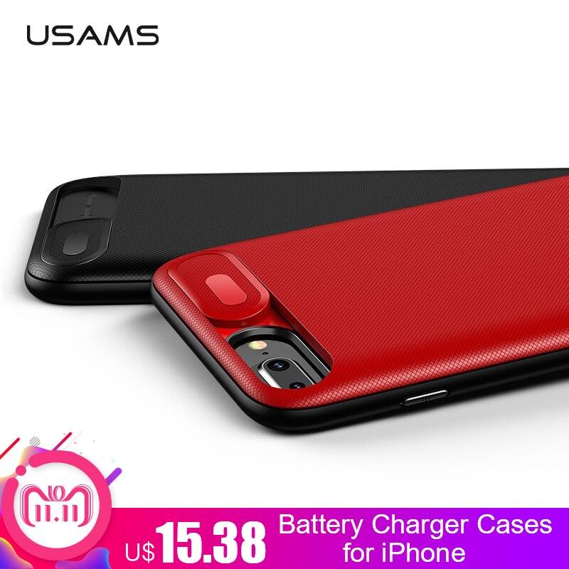 USAMS cargador de batería para iPhone 6 6 S 7 7 Plus 3000/4200 mAh banco de potencia Ultra Slim externa Paquete de cargador