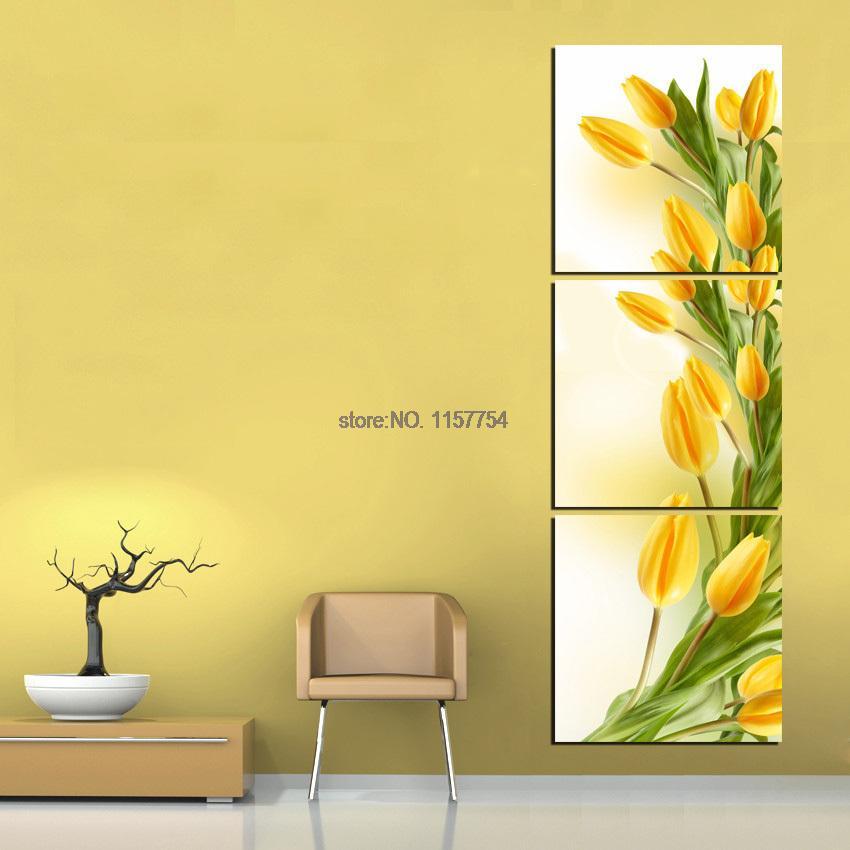 Yellow Flower Wall Art popular 3 piece canvas floral wall art-buy cheap 3 piece canvas
