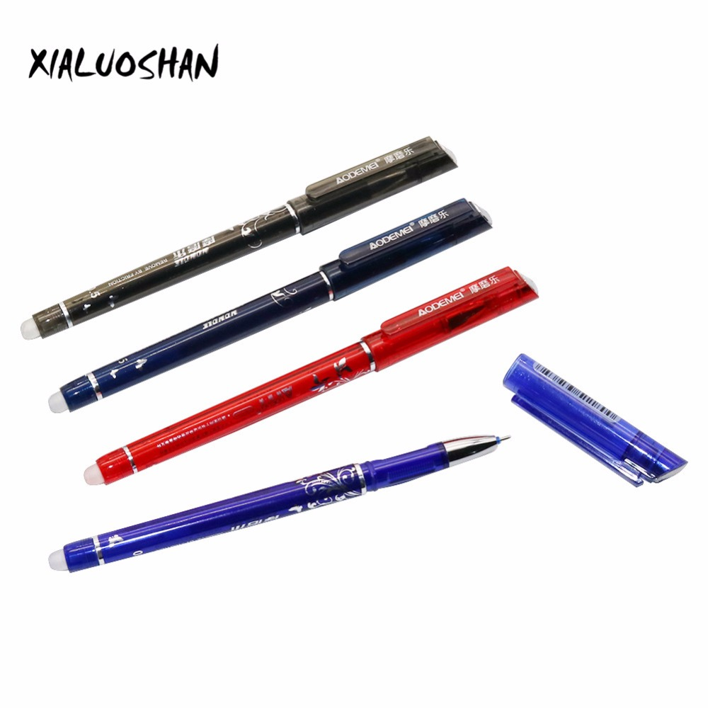 1 Pen Erasable Ballpoint Pen 0.5mm Replenishment Red / Blue / Ink Blue / Black Magic Writing Gel Pen Student Favorites Supplies