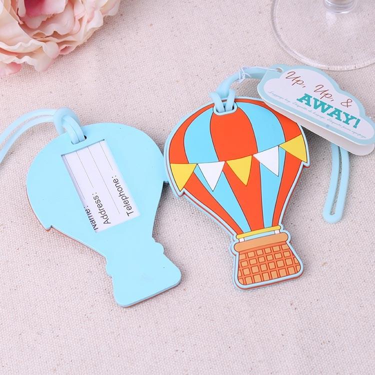 FREE SHIPPING Wedding Baggage TagsUp, Up & Away Hot Air Balloon Rubber Luggage Tag Travel Wedding Gift
