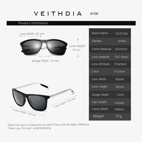 VEITHDIA Brand Unisex Retro Aluminum+TR90 Square Polarized Sunglasses Lens Vintage Eyewear Accessories Sun Glasses For Men/Women Multan