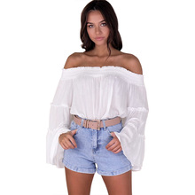 Summer Italy new hot fashion personality word collar sexy Slim female loose T-shirt