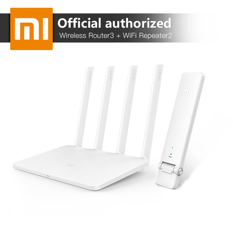 Xiaomi MI WiFi Wireless Router 3 867Mbps WiFi Repeater 4 Antennas 2.4G/5GHz 128MB ROM Dual Band APP Control + Mi WiFi Repeater original xiaomi mi wifi router 3g 1167mbps 2 4ghz 5ghz new style hottest dual band 128mb rom usb 3 0 us eu au plug router