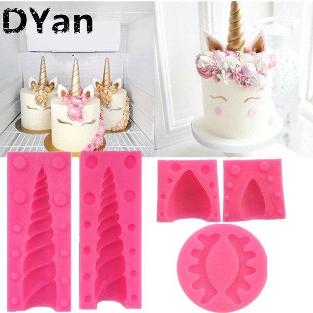 , Ухо глаз силиконовые формы для дня рождения украшения торта помадка формы 3D Единорог конфеты шоколадные gumpaste MouldsA1468