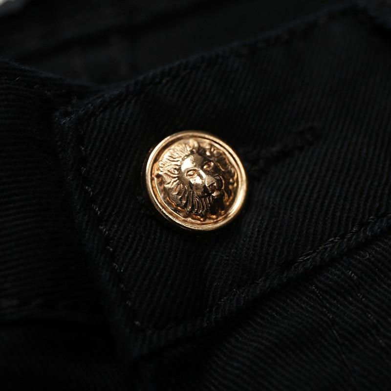 Designer Brand Mens fashion skull printed biker jeans Men Slim fit colored drawing print denim overalls Men Black long trousers
