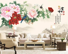 beibehang Custom size Fashion decorative painting thickening personality papel de parede wallpaper peony Chinese TV background