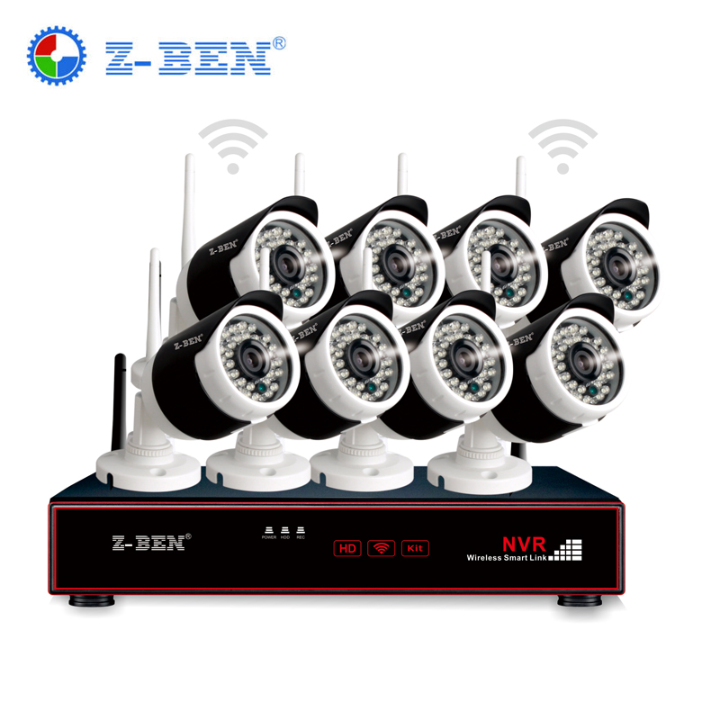 Z-BEN 8CH Wireless NVR Kit P2P 720P HD Outdoor IR Night Vision Security IP Camera Plug and Play WIFI CCTV System Waterproof IP66 8ch nvr kit 720p 3 6mm waterproof outdoor onvif ir ip camera 1 0mp and 8ch 1080p 720p nvr for cctv security system free shipping