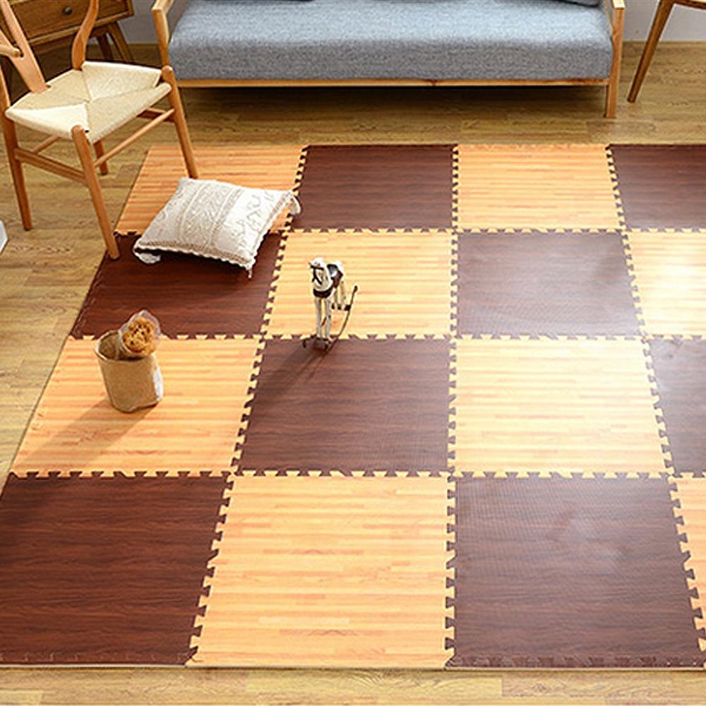 Wood Grain Print Rug: 9 Pieces Puzzle Carpet Imitation Wood Grain PlayMat /Kids