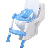 Baby Kids Foldable Potty Training Seat with Ladder Step Children Folding Toilet Seat Adjustable Infant Potty Trainer Chair Step