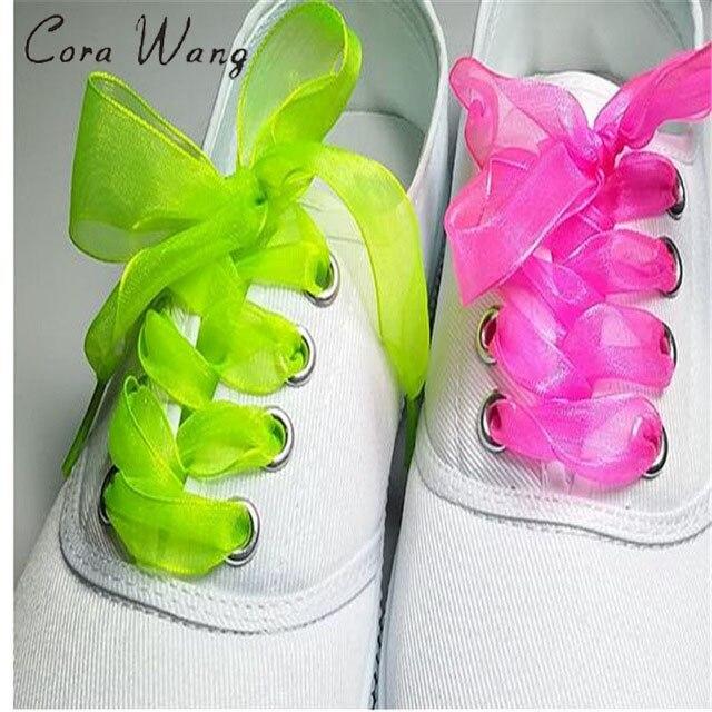 1 pair Shoe laces Strings For Multi Color Ribbon Shoe Laces~Chiffon Shoelaces Adult & Child Sizes 100CM ASL664B 1 pair of 120cm dots round shoe laces shoelaces shoe strings for climbing