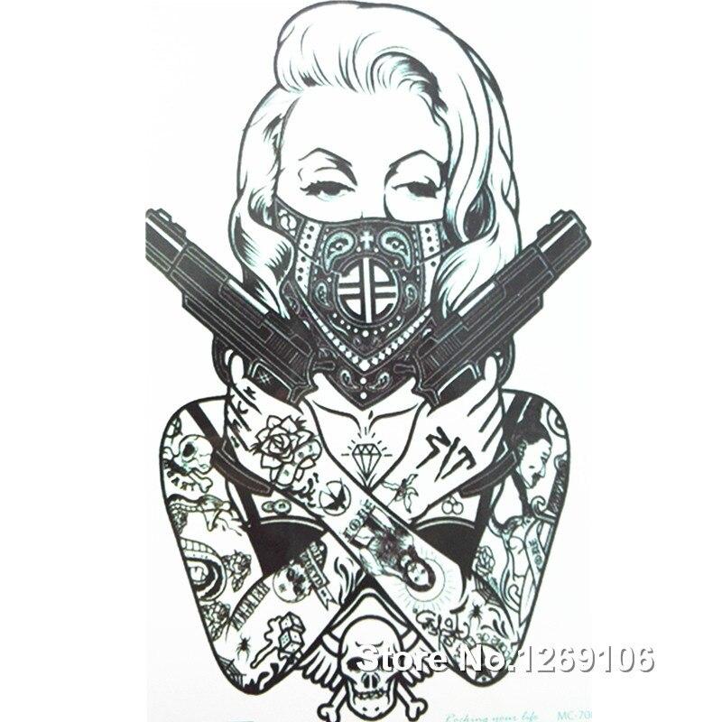 2016 Новый дизайн сезона круто татуировки девушка с оружием 19x12 см Водонепроницаемый Временные татуировки Наклейки