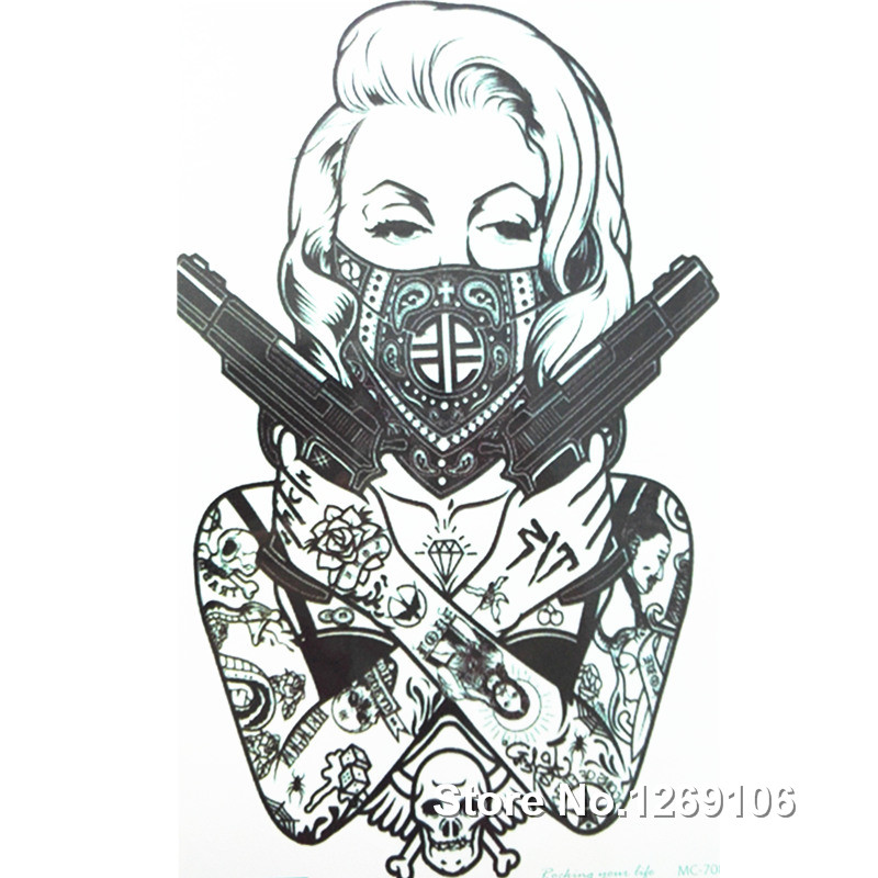 2016 New Design Cool tattoo girl with guns  19x12cm Waterproof Temporary Tattoo Stickers