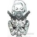 2016 New Design Cool tattoo girl with guns  19x12cm Waterproof Temporary Tattoo Stickers