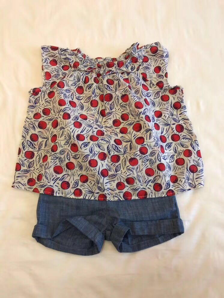 2019 New Summer Cherry Printed Dress Baby Girls Blue Blouse Top+ Cherry Pants Kids Clothing Set for Girl Sisters Set2019 New Summer Cherry Printed Dress Baby Girls Blue Blouse Top+ Cherry Pants Kids Clothing Set for Girl Sisters Set