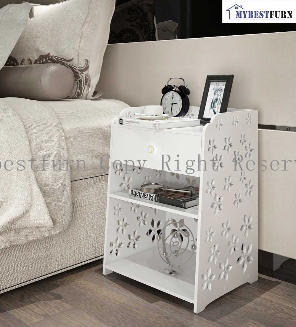 Mybestfurn Large Size White Wood Nightstand Carved Flower