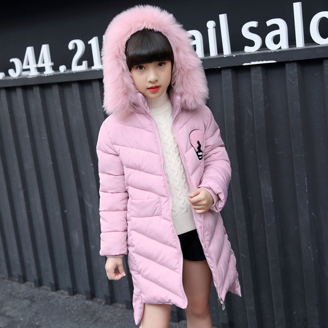 cdbd9c94 2018 New Jackets Girls Autumn Winter Coat Cotton Padded Fur Hooded Kids  Jacket For Girls Clothes Children Clothing Parkas Girl