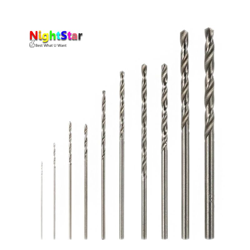 10pcs HSS White Steel Twist Drill Bit Set 0.5 0.6 0.8 1.0 1.2 1.5 1.8 2.0 2.5 3.0mm For Electric Grinding Drilling free shipping of 1pc hss 6542 made cnc full grinded hss taper shank twist drill bit 11 175mm for steel