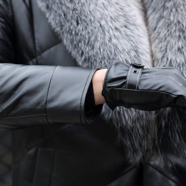 YOLANFAIRY Geniune Leather Jacket Men Sheepskin Leather Duck Down Coat With Real Fox Fur Collar Winter Warm Thick Outwear MF391 4