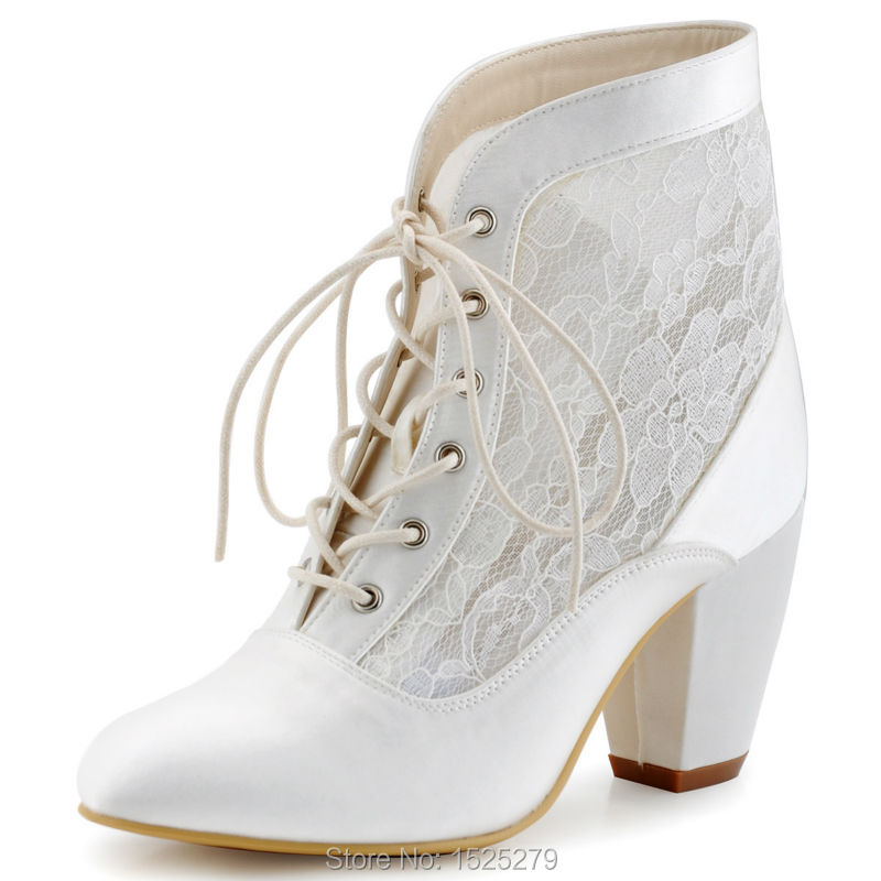 HC1559 Ivory White Women Boots Bride Bridesmaids Pumps Closed Toe Comfort Square Heel Satin Lace Boots Wedding Bridal Shoes