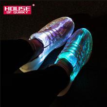 Size 25-46 Summer Led Fiber Optic Shoes for Girls Boys Men W