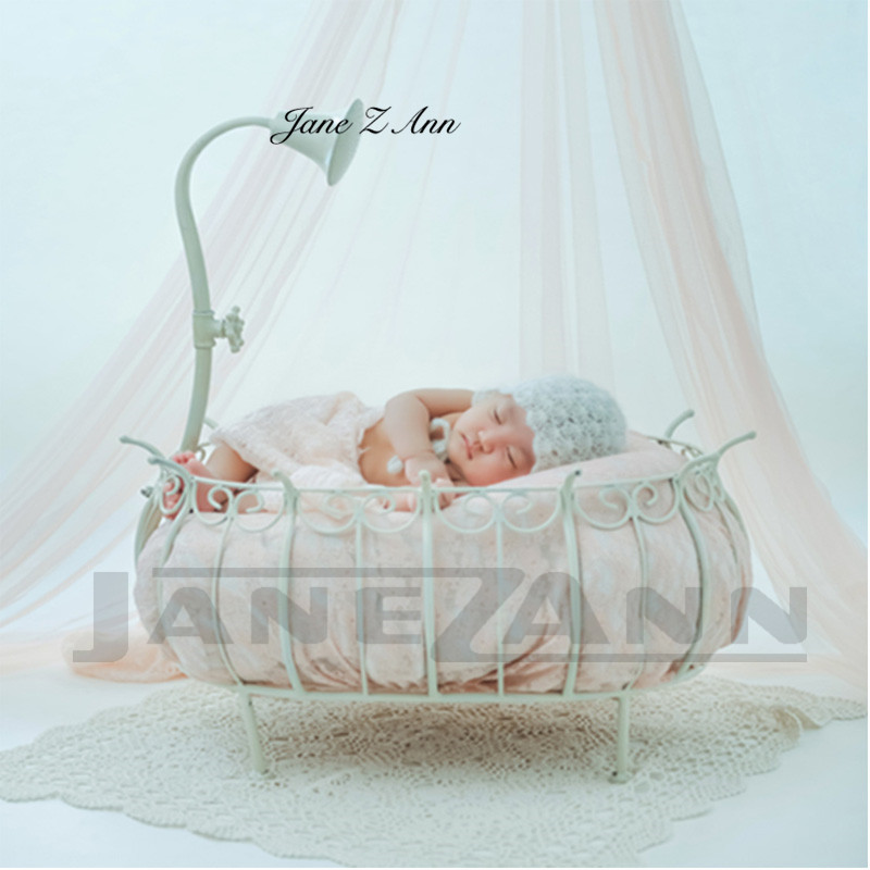 Jane Z Ann Newborn Baby Photography Props Iron Princess Bed Basket Fotografia Accessories Infant Studio Shooting